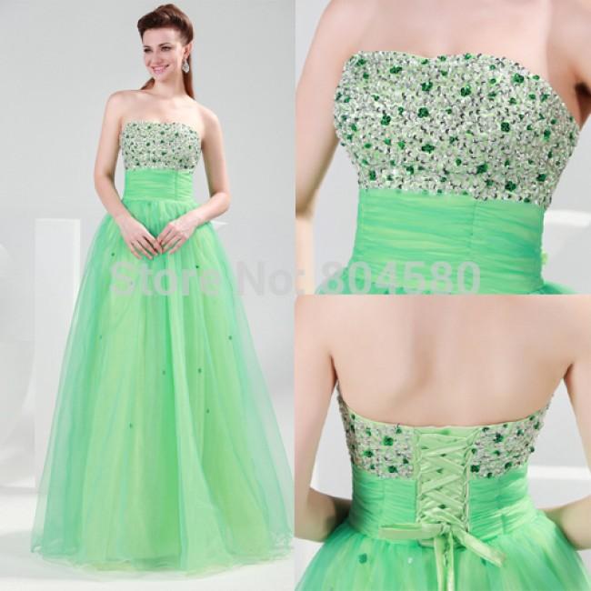 Elegant Grace Karin Stock Strapless Voile beaded Full-length Celebrity Dresses graduation party gown Long evening dress CL4424
