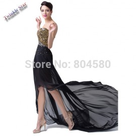Elegant Grace Karin Strapless High-Low Chiffon Formal Evening Gown Beads Ball Prom Party dress Women Homecoming dresses CL6254