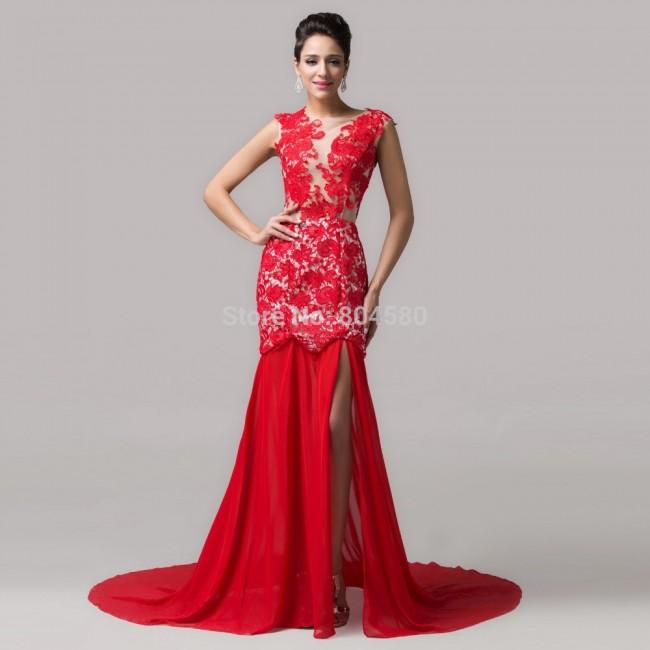 Elegant   Sexy Slit Side Lace Applique Special Occasion Formal Evening dress Celebrity Prom Red Carpet dresses CL6120