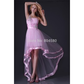Elegant  Fashion One Shoulder Short Front Long Back Evening Prom dresses sexy Homecoming Women Party Dress Gown CL3829