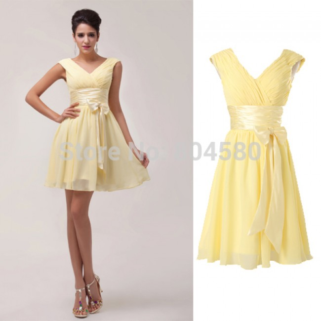 Elegant Stock Deep V Neck Chiffon Cocktail Party dress Yellow Masquerade Gown Short Homecoming Ball Prom Dresses CL6048