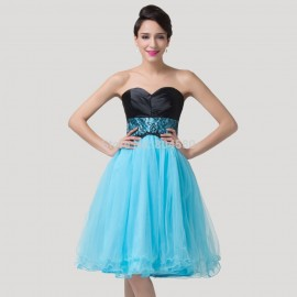 Elegant Women Strapless knee length Short Prom Dress Crystal  Blue Ball Gown muslim Evening party debutante dress CL6250