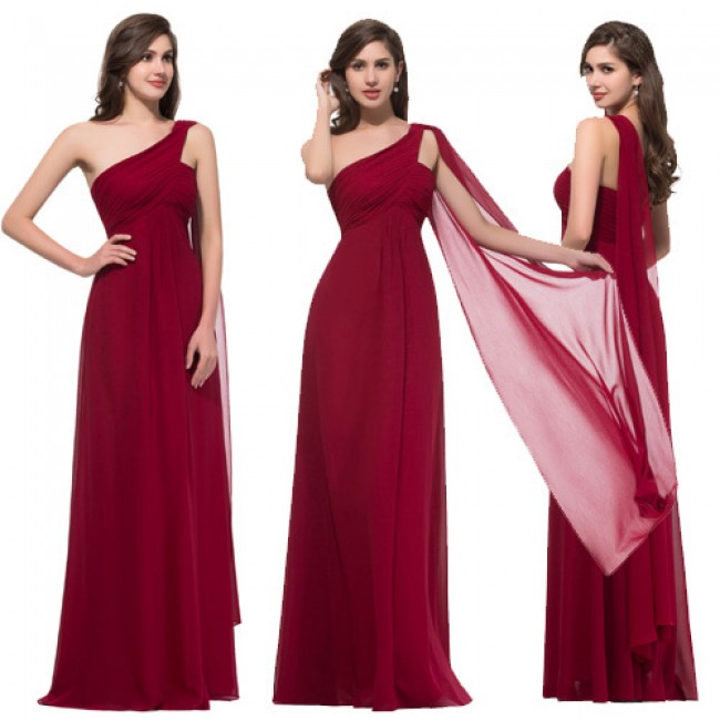 Elegant 2015 Summer Big Size Women One Shoulder Evening Dresses Red Long Celebrity Dress Prom Party Gown Chiffon Full Length D89