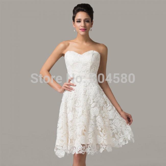 Elegant Design! Grace Karin off shoulder women Celebrity Party Dress Lace prom Dresses white Short Evening Gowns CL6126