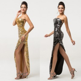 Elegant High Split Long Prom Dresses Black Gold Crystal Sequins Ankle Length 2015 Evening Gown Special Occasion Dress CL7589