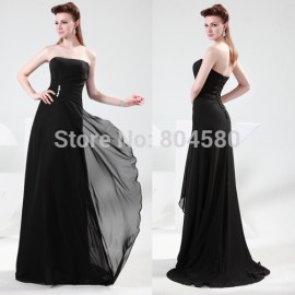 Elegant Strapless Empire Celebrity dress A Line Party Gown Formal Evening dresses 2015 Floor Length Long Prom Gowns Women 4430