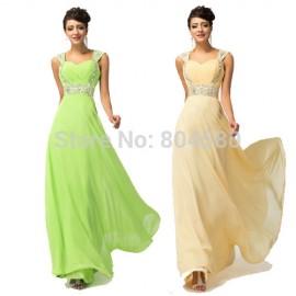 Elegant  Two Shoulder Straps Chiffon Evening Dresses Gown Party Women Prom Gowns 2015 Long Celebrity Dress vestido de festa 4446