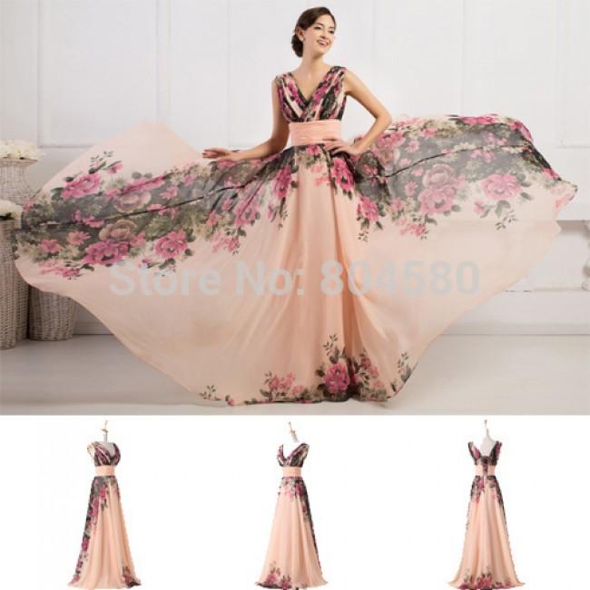 European Sexy Women Floor Length Winter Print Celebrity dresses Long Chiffon Maxi Flower Vintage Party Prom Dress Evening CL7502