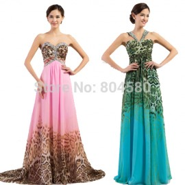 European Style Pink Leopard Printed Evening Dresses Women Long Prom Gown Floor Length Fashion Party Bandage Dress Plus Size Ball
