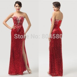 Fashion DesignStrapless Sequins Women Split red Celebrity dresses Long Evening dress Bandage Party Gown Lace-up back CL6102