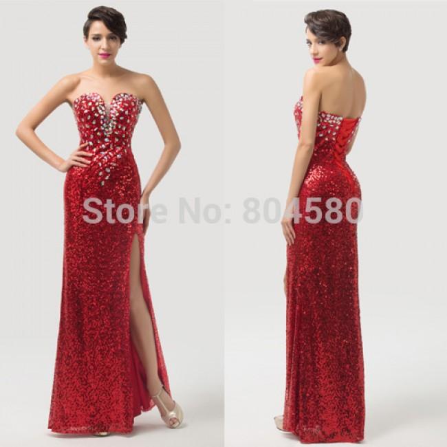 Fashion DesignStrapless Sequins Women Split red Celebrity dresses Long Evening dress Bandage Party Gown Lace-up back CL6102