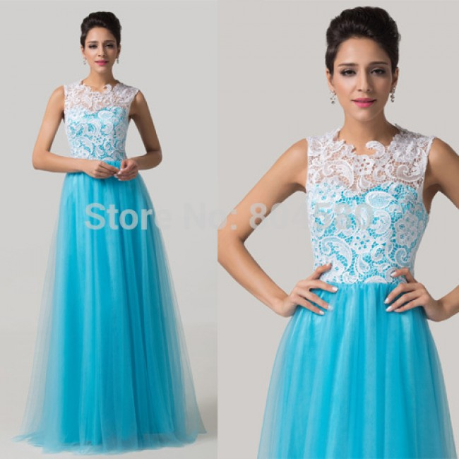 Fashion Full Length Blue Lace Applique Long Evening dress Formal Prom Dresses Elegant Maternity Party Girl Gown CL6124