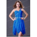 Fashion One Shoulder Knee Length Pink White blue purple short Cocktail Party dress Formal prom gown dresses CL3185