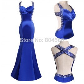 Fashion Style Sexy Blue Bandage Dress,Stock Backless Satin Sheath Evening Prom Dresses   CL4603