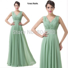 Fashion Summer Women A Line V Neck Long Formal Evening Gown Holiday Ball Party dress Sexy Prom Dresses  Plus Size CL6205
