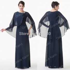 Fashion Women Clothing A Line Long Sleeve Chiffon Party Dress Maxi Mother of the Bride dresses Formal Gowns CL6210