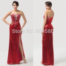 Fashion Strapless Sequins Women Split Red Carpet Celebrity dresses Long Evening dress Bandage Party Gown Lace-up back CL6102