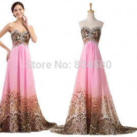 Fashion Style Strapless A Line Chiffon Leopard Print Pattern Evening dress Sleeveless Prom dresses 2015 Formal Party Gown 7558