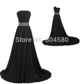 Delivery Grace Karin Floor length Black Chiffon long evening dress Formal Prom Gowns Party Design CL2425