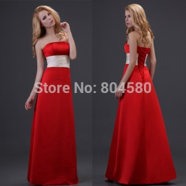 DeliveryGrace Karin Stock Strapless Satin Formal Party Gowns Long Women Bridesmaid dress  CL3421