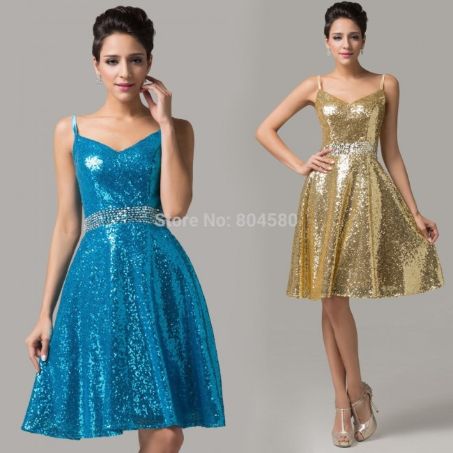 Fast Delivery!Grace Karin Blue/Golden Spaghetti Straps sexy women V-Neck Sequins Party Gown Short evening Prom dresses  CL6149