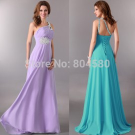 Fast Delivery! One Shoulder 8 Colors Chiffon Long Celebrity dresses Formal Evening dress 2015 CL2949