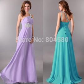 Fast Delivery! One Shoulder 8 Colors Chiffon Long Celebrity dresses Formal Evening dress 2015 CL2949