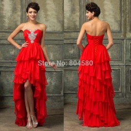 Fast Delivery Short Front Long Back Red Prom dresses 2015 Spring Strapless Sexy Cheap Chiffon Evening Party Gown Dress Ball 3517