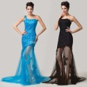 First-class Fashion One Shoulder Vintage Lace evening dress Floor Length Trumpet Prom Party Gown CL6129
