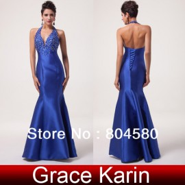 Stock Halter Satin Ball Gown Mermaid Strapless Satin Blue Long Prom party Gown Formal Evening Dress CL6024