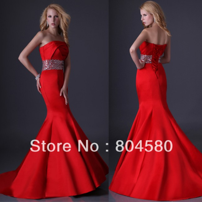 Fashion Grace Karin Sexy Stock Strapless Satin Red Party Prom Gown Mermaid Evening Dress  Sexy Long CL3825