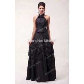 GK Fashion Floor-Length Halter Backless Formal Evening Dress Black Party Dresses CL6074
