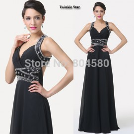 Grace Karin Elegant Black Sexy V neck Backless Long Party Evening dress  Formal Prom Dresses Gown CL6279