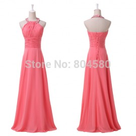 In Stock Sexy Beaded Floor-length Halter Chiffon Long Prom Party Gown Formal Evening Dress  CL6028