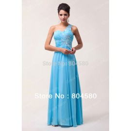In stock One shoulder Chiffon Formal Party Prom Gown Cheap Long Beaded Evening Dress  CL6027