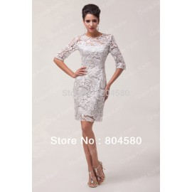 Stock Short Half Sleeve Lace Evening party Dress for Women Special mother of the bride dresses CL6032