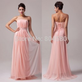 Stock Strapless Sexy Beaded Off-shoulder Bridesmaid Dresses Prom A-line Long Formal Gown Evening Dress  CL6008