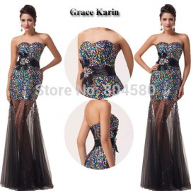 Strapless Sequins +Tulle Long Celebrity Dresses Colorful Formal Evening Gown Women Mermaid prom Dress  CL6026