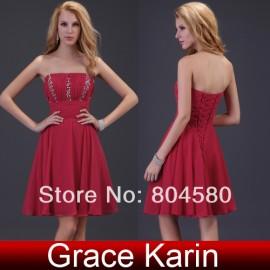Grace Karin Stock Strapless Sequins Women Fashion Party Gown Chiffon Evening Dress short Lady Dress CL3422