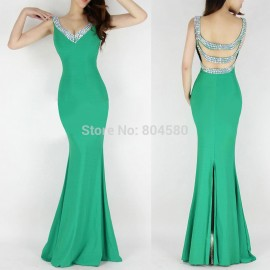 Fashion Ladies' Deep V-Neck Backless Floor Length Sheath Bandage Dress Sexy Winter Evening party dresses CL6061
