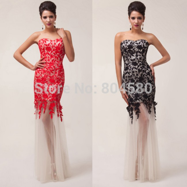 Fashion Ladies' Seethrough Lace Applique Strapless Sheath Mermaid Formal Evening Dress Prom Party Gown  CL6043