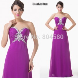 Grace Karin Off Shoulder Purple Chiffon Prom Gown Formal Special Party Dresses Beaded Long Evening Dress CL6188