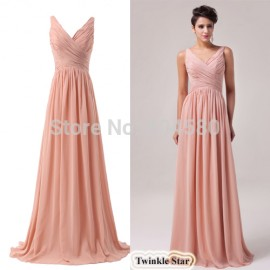 Fashion Women Deep V Neck Chiffon Formal Gown A-line Long Dresses Evening Party Dress CL6010