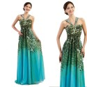 Free Shipping Grace Karin Green Pattern Vintage Style Long Maxi Evening Dress Beach Prom Dresses Blue Formal Party Gowns 7546