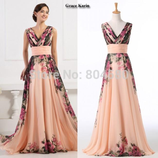 Fashion Women Deep V Neck Flower Pattern Chiffon Party Dress Long Prom Gown Formal Evening dresses CL7502