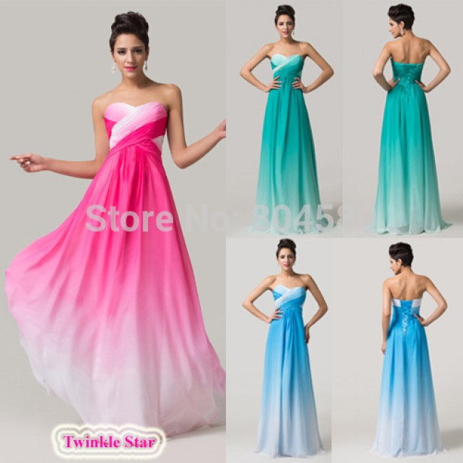 Fashion Strapless FloorLength Colorful Chiffon Sexy Sleeveless  Long Prom Party Gown Formal Evening dress CL6173