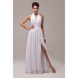 Fashion Strapless Halter Chiffon Women's Backless Party Dress White Prom Dresses Formal Evening gown CL6065