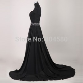 Grace Karin 1PCS/LOT Long Stunning Strapless Chiffon Prom Gown Black Evening Dress  CL2425