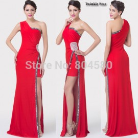 Grace Karin One Shoulder Side Slit Long Party Gown Red Formal Evening dress Sexy Bandage Prom dresses  CL6275