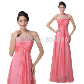 Grace Karin Sexy Fashion Hater Beads Toast Party Dress Long Chiffon Bridesmaid dresses  Formal Prom Gown CL6199